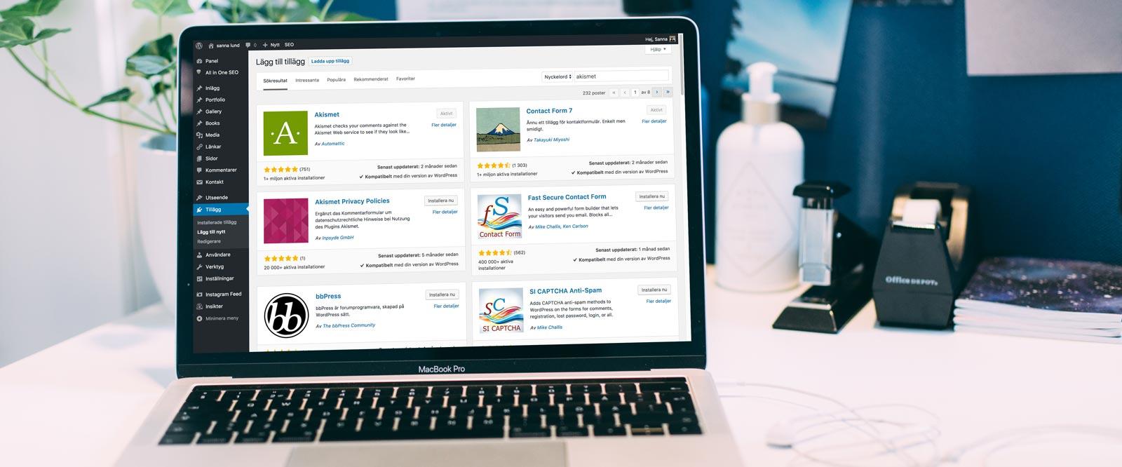 Onlinekurs Viktiga verktyg i Wordpress
